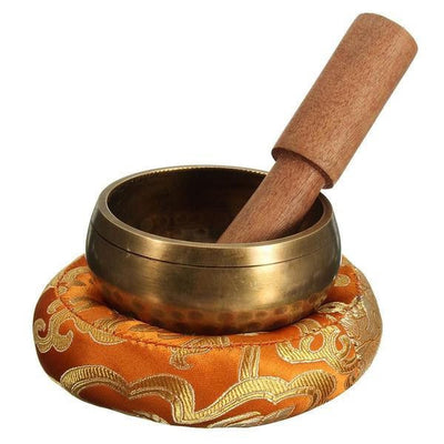 Hand Made Tibetan Chakra Singing Bowl Set with Wooden Wand and Mat