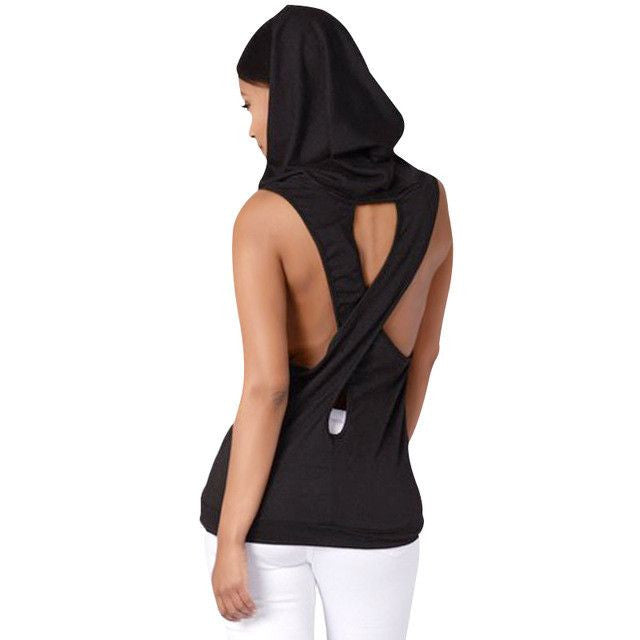 Hooded Goddess Yoga Shirt with Cross Over Open Back