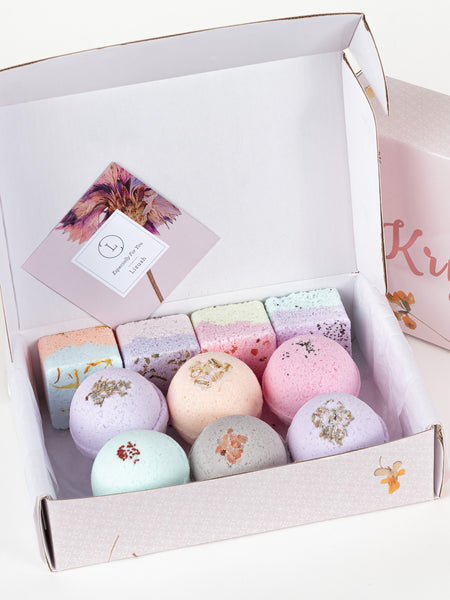 Natural Bath Bombs and Shower Steamers Set -  in a Gift Box