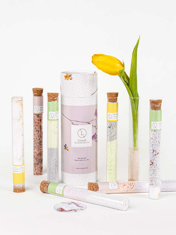 Natural GIFT for your bath in a Tube - Gift set with 7 Glass tubes - wholesale 1