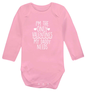 I'm the only valentines my daddy needs baby vest long sleeved pale pink 6-12 months