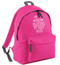 I'm the only valentines my daddy needs pink adults backpack