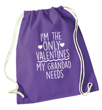 I'm the only valentines my grandad needs purple drawstring bag