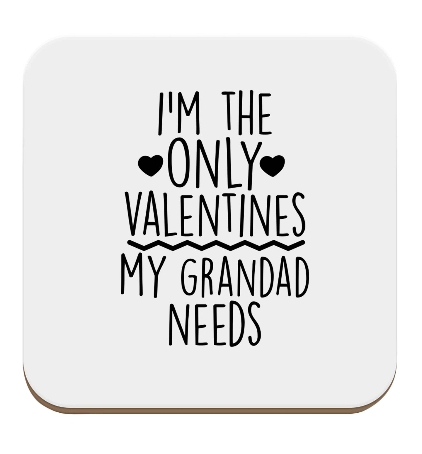 I'm the only valentines my grandad needs set of four coasters