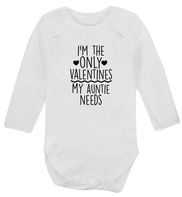 I'm the only valentines my auntie needs baby vest long sleeved white 6-12 months