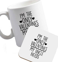 10 oz I'm the only valentines my uncle needs ceramic mug and coaster set right handed