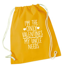 I'm the only valentines my uncle needs mustard drawstring bag