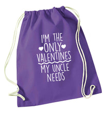 I'm the only valentines my uncle needs purple drawstring bag