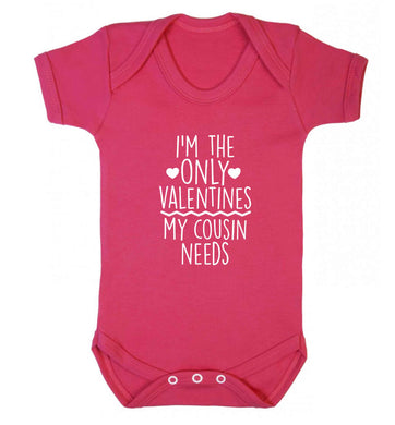 I'm the only valentines my cousin needs baby vest dark pink 18-24 months