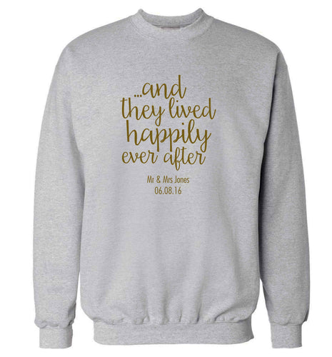 ...and they lived happily ever after - personalised date and names adult's unisex grey sweater 2XL