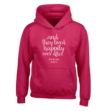 ...and they lived happily ever after - personalised date and names children's pink hoodie 12-13 Years