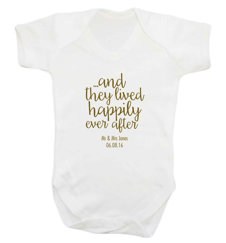 ...and they lived happily ever after - personalised date and names baby vest white 18-24 months