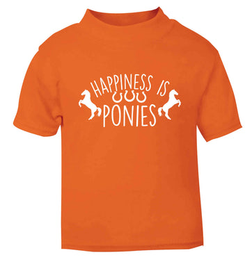 Happiness is ponies orange baby toddler Tshirt 2 Years