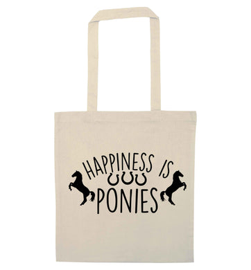 Happiness is ponies natural tote bag