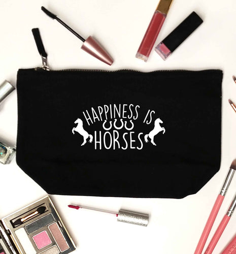 Happiness is horses black makeup bag