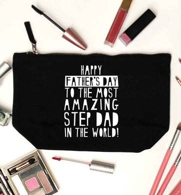 Happy Father's day to the best step dad in the world black makeup bag