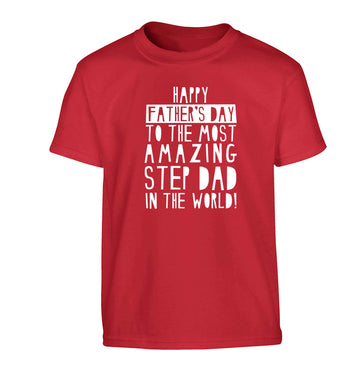 Happy Father's day to the best step dad in the world Children's red Tshirt 12-13 Years