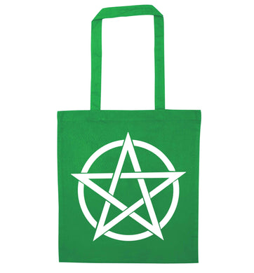 Pentagram symbol green tote bag