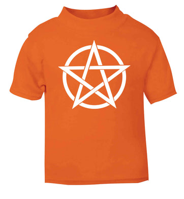 Pentagram symbol orange baby toddler Tshirt 2 Years