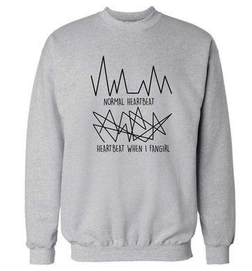 Normal heartbeat heartbeat when I fangirl Adult's unisex grey Sweater 2XL