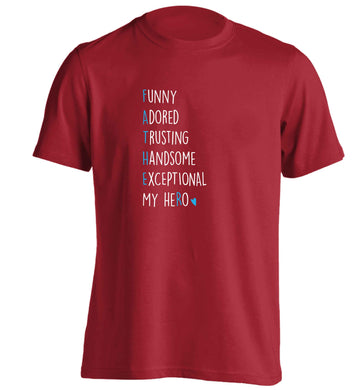 Father meaning hero acrostic poem adults unisex red Tshirt 2XL