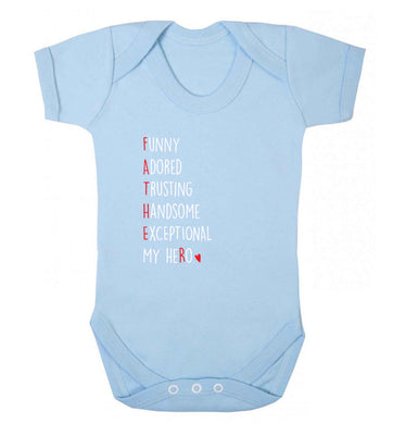 Father meaning hero acrostic poem baby vest pale blue 18-24 months