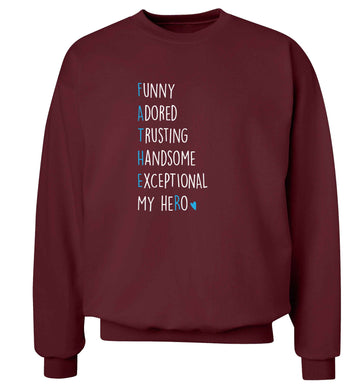 Father meaning hero acrostic poem adult's unisex maroon sweater 2XL