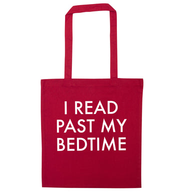 I read past my bedtime red tote bag