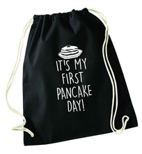 It's my first pancake day black drawstring bag