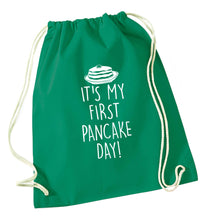 It's my first pancake day green drawstring bag
