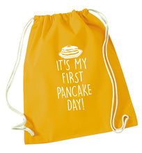 It's my first pancake day mustard drawstring bag