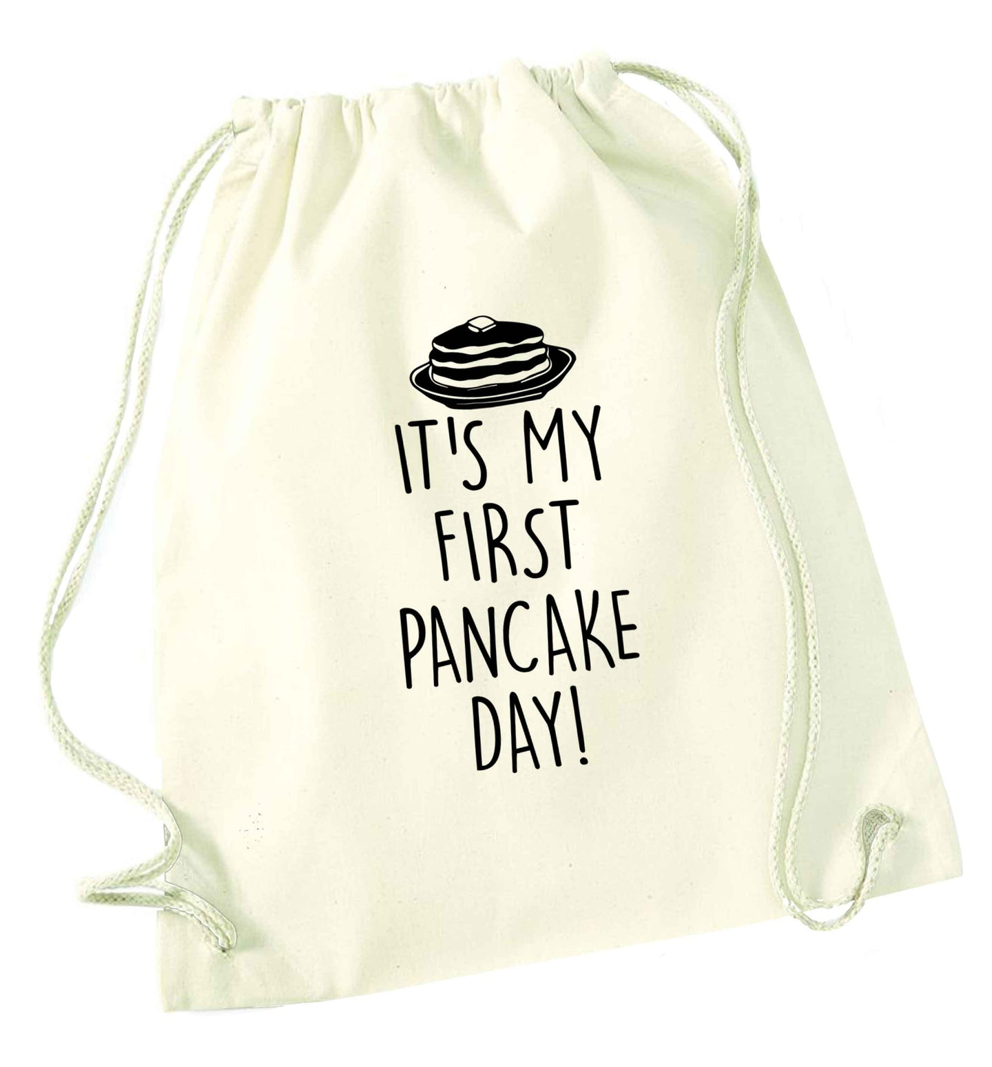 It's my first pancake day natural drawstring bag