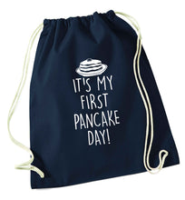 It's my first pancake day navy drawstring bag