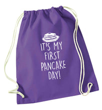 It's my first pancake day purple drawstring bag