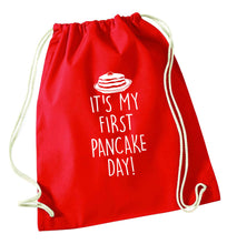 It's my first pancake day red drawstring bag