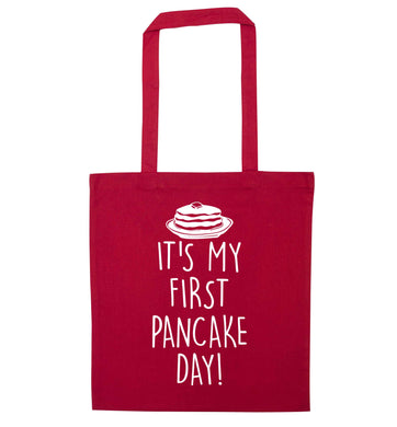 It's my first pancake day red tote bag