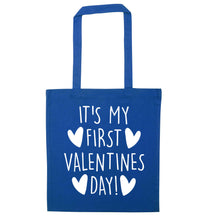 It's my first valentines day! blue tote bag