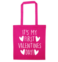 It's my first valentines day! pink tote bag