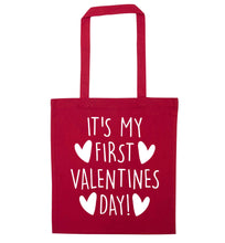 It's my first valentines day! red tote bag