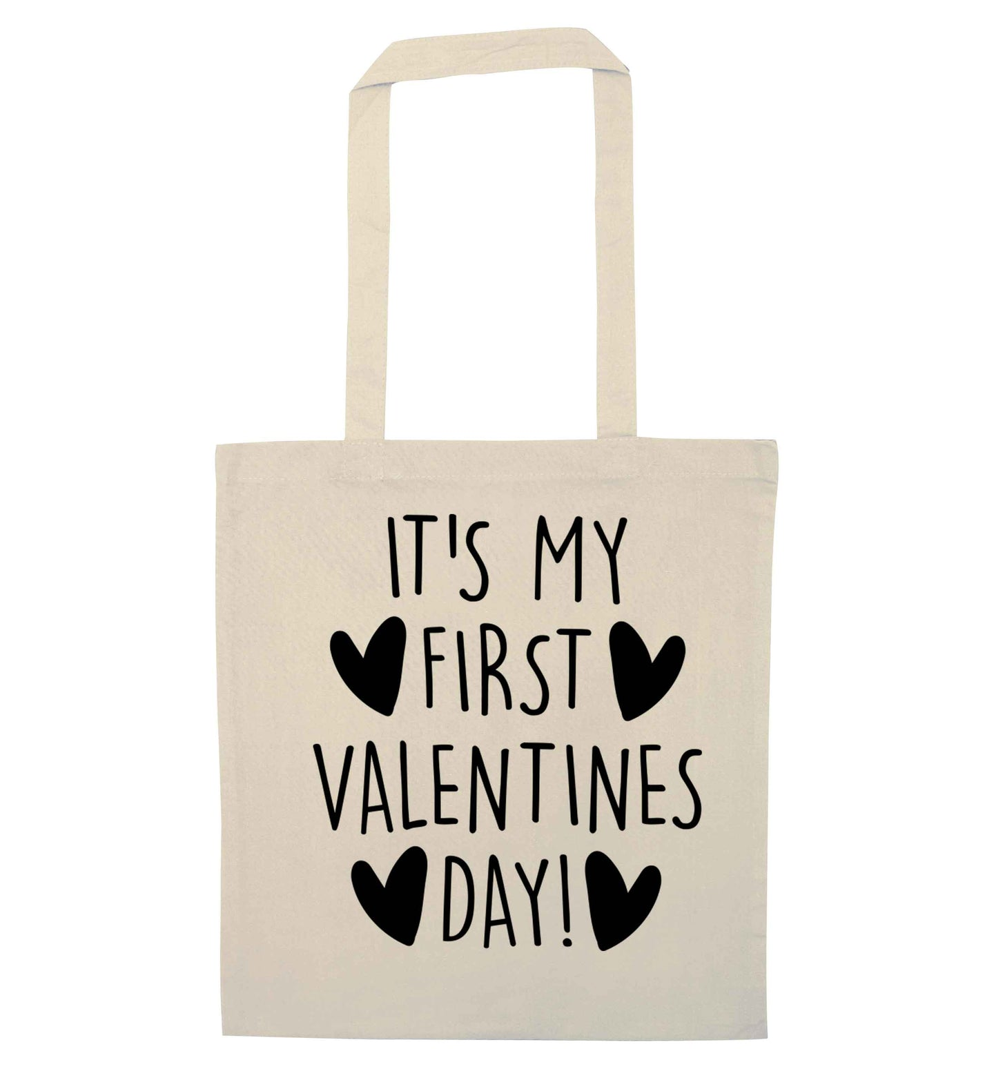 It's my first valentines day! natural tote bag