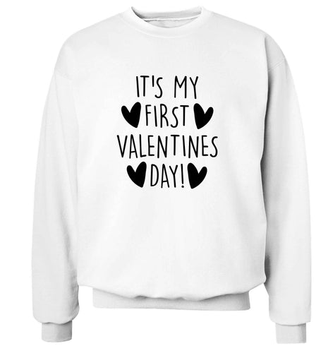 It's my first valentines day! adult's unisex white sweater 2XL