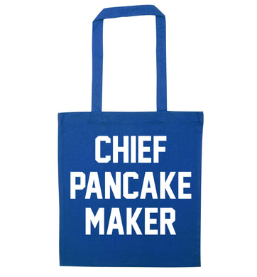 Chief pancake maker blue tote bag