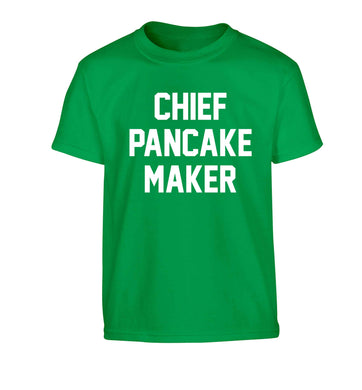 Chief pancake maker Children's green Tshirt 12-13 Years