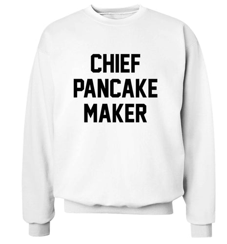 Chief pancake maker adult's unisex white sweater 2XL