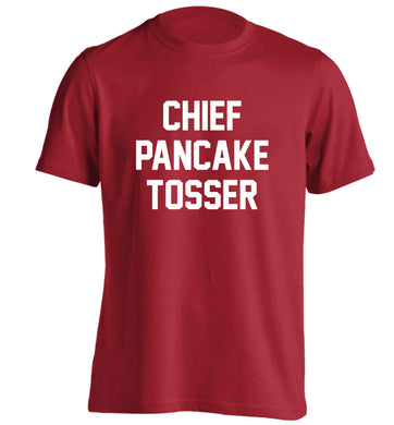 Chief pancake tosser adults unisex red Tshirt 2XL