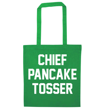 Chief pancake tosser green tote bag