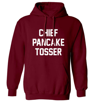 Chief pancake tosser adults unisex maroon hoodie 2XL