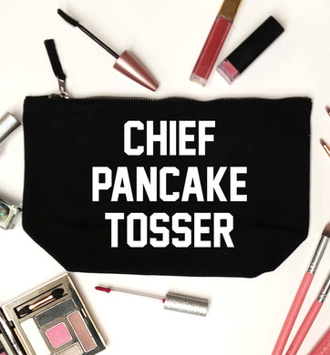 Happiness is pancakes black makeup bag