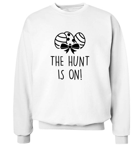 The hunt is on adult's unisex white sweater 2XL