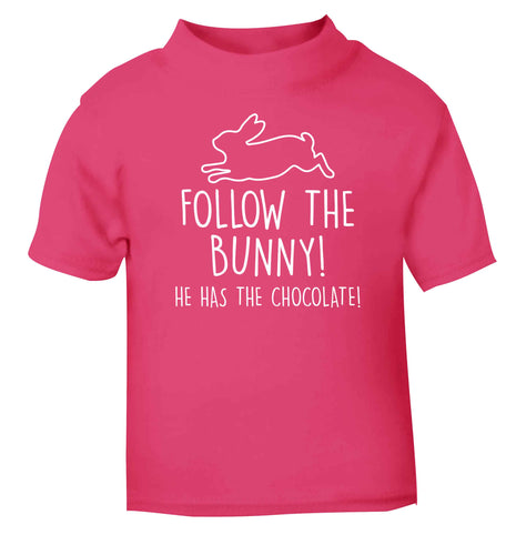 Follow the bunny! He has the chocolate pink baby toddler Tshirt 2 Years